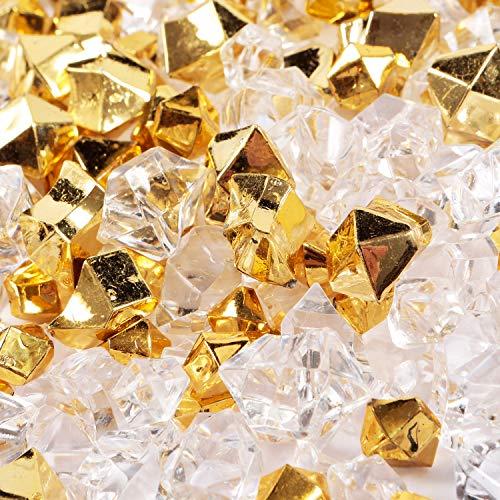 150pcs pietre di ghiaccio in frantumi finte Pietre preziose di plastica per riempitivi di vasi da matrimonio Cristalli per decorazioni per feste a casa (oro/ trasparente)