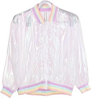 Harajuku Swag Rainbow Pastel Clear Bomber Jacket for Womens