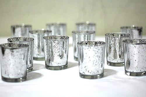 new arrival BD Crafts lowest Silver Mercury Glass Votive Holder, Set discount of 12 online sale