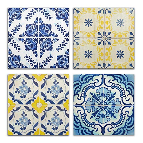 Azulejos de cerámica estilo vintage, 4 paneles, pintura artística para pared, impresión moderna y enmarcada para decoración del hogar, baño, cocina, oficina, 9.8 x 9.8 pulgadas 2010034
