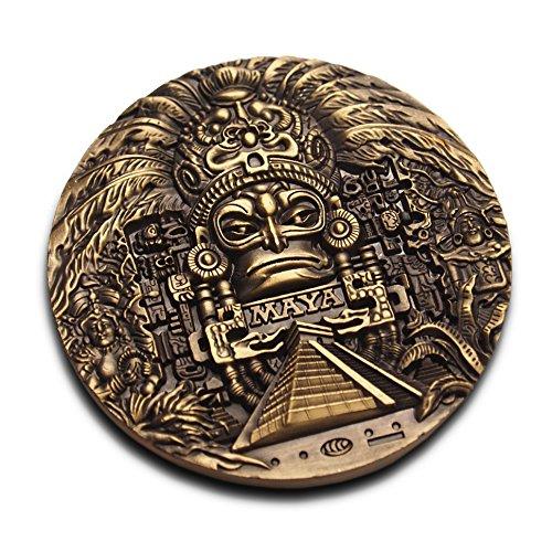 Riesige Medaillon-Münze aus der Maya-Zeit, Maya-Prophezeiung, sehr detailliert, 3D-Ausgabe, 80 mm Durchmesser, Sammlerstück