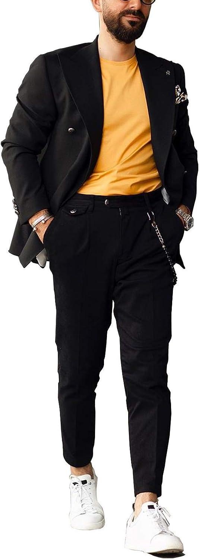Men's Suits Black Casual Blazer 2 Pieces Set Formal Jackets Pants Wedding Blazer Party Slim fit