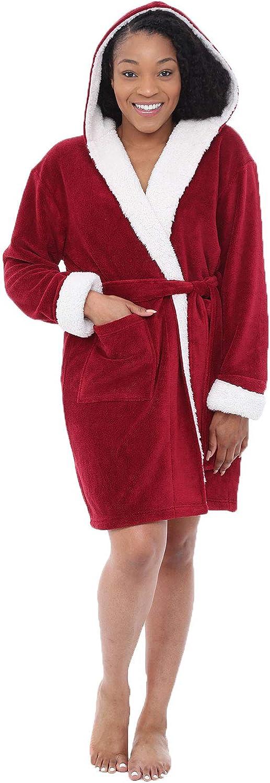 Alexander Del Rossa Womens Short Fleece Hooded Robe, Bathrobe with Trim