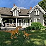 Outdoor Garden Decor Metal Dinosaur Statues Stakes Yard Ornaments Sculpture Removable and Assembly Dinosaur Decorative Art Silhouette Metal Animal Yard Lawn Patio Home Decor (S)
