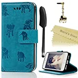 Mavis's Diary iPhone SE Case, iPhone 5S 5 Case Wallet PU Leather Magnetic Flip Case Elephants Embossing Rubber Cover Card Slots Stand for iPhone SE 5s 5, with Dust Plug & Stylus Elephants/Teal