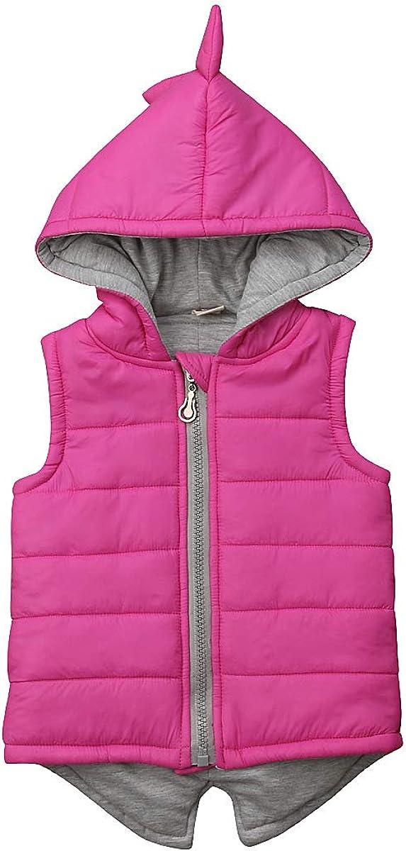 Little Girls Thermal Gilets Sleeveless Cotton Padded Jacket Hooded Vest Full Zip Dinosaur Waistcoat for Autumn Winter