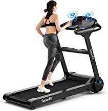 GYMAX Folding Treadmill, Electric Motorized Running Walking Machine with Bluetooth Speaker, Heart Rate Sensor & LED Touch Display, 2.25HP Silent Treadmill for Home/Gym