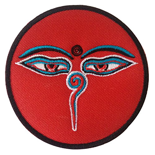 Tibetan Buddha Wisdom Eyes Nepal Art Lucky Sign Matras Sew on or Iron on Patches Embroidered Applique Craft Accessory for Decorate Your Clothes Jeans Tshirt Jacket Pant Bag Backpack Hat for Men Women
