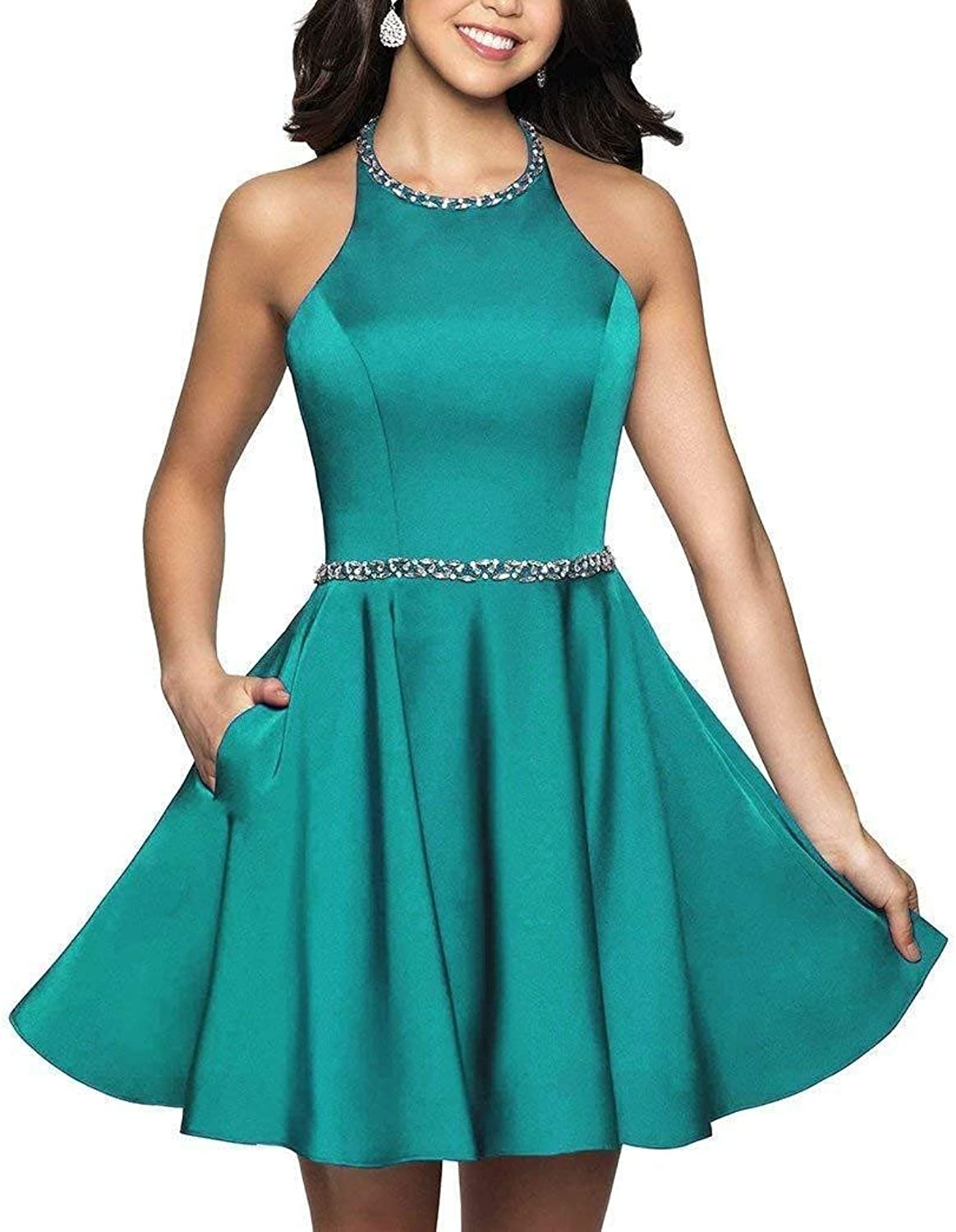 Ruisha Women Halter Beaded Open Back Prom Homecoming Dresses Short Formal Party Graduation Dress RS0240