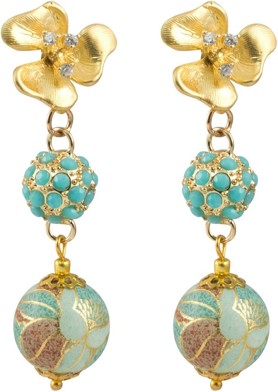 Just Give Me Jewels Gold Tone Floral Design Tensha Bead Dangle Stud Earrings - Aqua