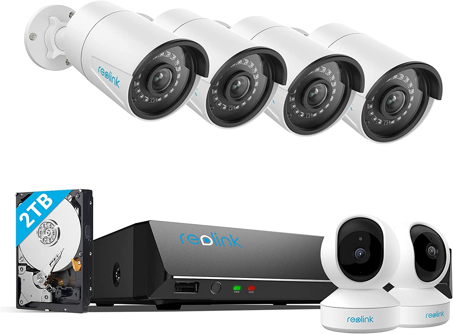Reolink 4MP Indoor Security Camera E1 Pro 2 Pack Bundle with 8CH 5MP Security Camera System, RLK8-410B4-5MP