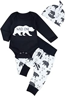 Newborn Baby Boys Girls Clothes Baby Bear Printing Long Sleeve Romper Bodysuit Printing Pants with Hat 3PCs Outfit Sets