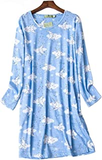TieNew 2019 Ladies Winter Lovely Cotton Nightwear Nightdress Pyjamas with Pocket Womens Long Sleeve Nightdress
