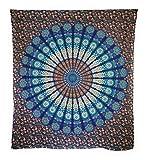 Aga's Own Indische Mandala Tagesdecke, Wandtuch, Tagesdecke Mandala Druck - 100prozent Baumwolle, 210x240 cm, Bettüberwurf, Sofa Überwurf VIELE Varianten (Muster 17)