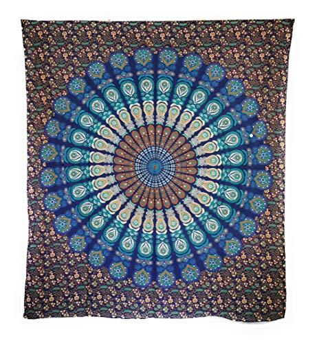 Aga's Own Indische Mandala Tagesdecke, Wandtuch, Tagesdecke Mandala Druck - 100% Baumwolle, 210x240 cm, Bettüberwurf, Sofa Überwurf VIELE Varianten (Muster 17)