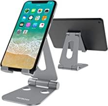 Tecboss Foldable Tablet Stand,Cell Phone Stand Multi-Angle Adjustable Desktop Holder for Nintendo Switch, iPad, iPhone X 8 7 Plus, Galaxy S8, Nexus All 3.5-13 inch- Space Grey
