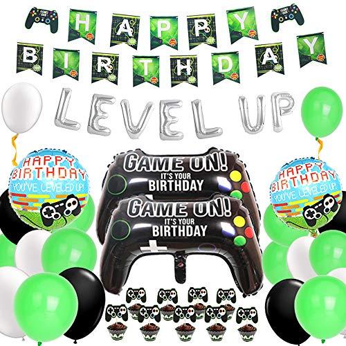 Kreatwow Videojuego Decoraciones de cumpleaños Juego en Level Up Gamer Suministros para Fiestas de cumpleaños para niños Globos Feliz cumpleaños Banner Cupcake Toppers