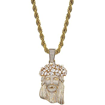 Polished Small Gold Jesus Piece Pendant With Chain