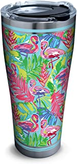 Tervis 1316106 Bright Flamingo Pattern Stainless Steel Insulated Tumbler with Lid, 30 oz, Silver