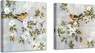 Abstract Floral Birds Paintings Artworks: Hand Painted Vintage Animal Bird Standing on Magnolia Flowers Twig Canvas Wall A...