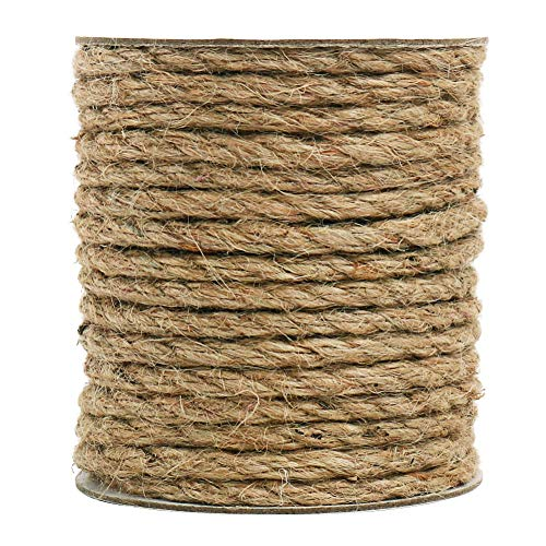 Tenn Well 6mm Jute Rope, 66 Feet Strong and Thick Twine Rope for Crafting, Gardening, Packing and Home Decor