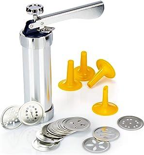 COM-FOUR® prensa de pastelería con 20 accesorios y 4 accesorios de pulverización - prensa de galletas para hornear - prensa de galletas de mantequilla - pulverizador de pastelería
