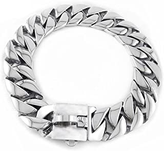 25 Mm Wide Hip Hop Gold Tone Cut Curb Cuban Link 316L Stainless Steel Dog Choke Chain Collar 45-75CM,Silver,F
