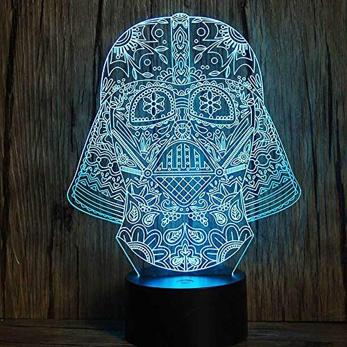 Kunyun Creative Black Warrior Star Wars LED Luz de Noche emitiendo Touch Remoto USB Night Light Creative 3D. (Color : A, Talla : 230 * 180 * 88mm)