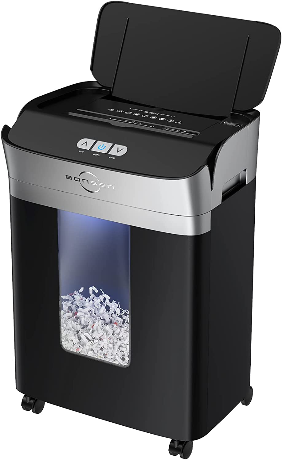 BONSEN Paper Shredder, 90-Sheet Automatic and Manual Micro-Cut Paper and Credit Card Shredder, High Security Level P-4 Shredder for Home Office with 5.3 Gallons Lighted Wastebasket, Black (S3109)