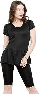 N-Gal Women's Polyester Frock Style Solid Short Sleeve & Knee Shorts Swimwear Swimsuit