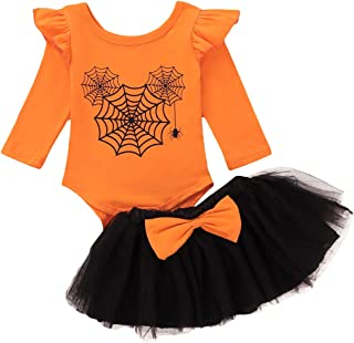 Infant Toddler Baby Girl Halloween Clothes Sets Ruffle Sleeve Spider Web Print Romper Bowknot Tulle Tutu Skirt Fall Outfit