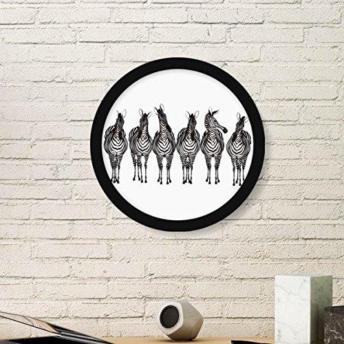 Doe-het-zelf denker verschillende actie zebra dier ronde fotolijst kunst afdrukken van schilderijen huis muursticker cadeau