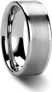 NELSON KENT Herren Damen 8 mm Breite Flachsandoberfläche Wolfram-Stahl-Paar Ringe