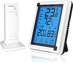 Termômetro externo para ambiente interno Higrômetro digital sem fio com LCD Touchscreen Backlight Monitor de umidade Monit...