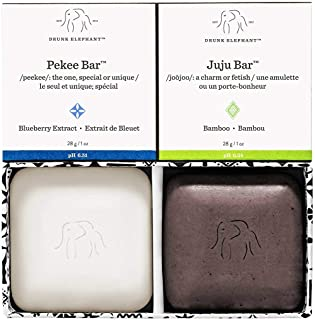 Drunk Elephant Baby Juju and Baby Pekee Bar Soap Travel Case. Exfoliating Face Wash and Moisturizing Bar Cleansers. 1 Ounc...
