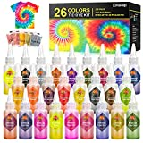 DIY Tie Dye Kits, Emooqi 26 Colors Fabric Dye Art Set with Rubber Bands, Gloves, Spoon, Funnel, Apron and Table Covers for Craft Arts Fabric Textile Party Handmade Project.