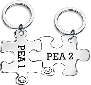 CHOORO Twins Keychain Set Two Peas in A Pod Pea 1 & Pea 2 Keychain Set Twins Jewelry Gift for Twin Sister/Brother Best Friend (pea1 & pea2 set)