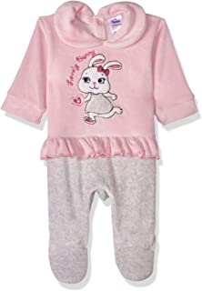Papillon Embroidered Rabbit Front Ruffle Long Sleeves Shirt Neck Jumpsuit for Girls