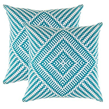 TreeWool 2 Pack Throw Pillow Covers Kaleidoscope Accent Decorative Pillowcases Toss Pillow Cushion Shams Slips Covers for Sofa Couch (18 x 18 Inches/45 x 45 cm; Turquoise), White Background