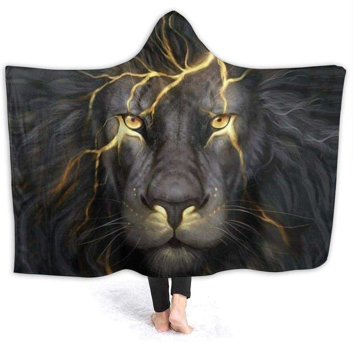 MSGUIDE Golden Cool Lion Paninting Dedication Blanket F Anti-Pilling supreme Hooded