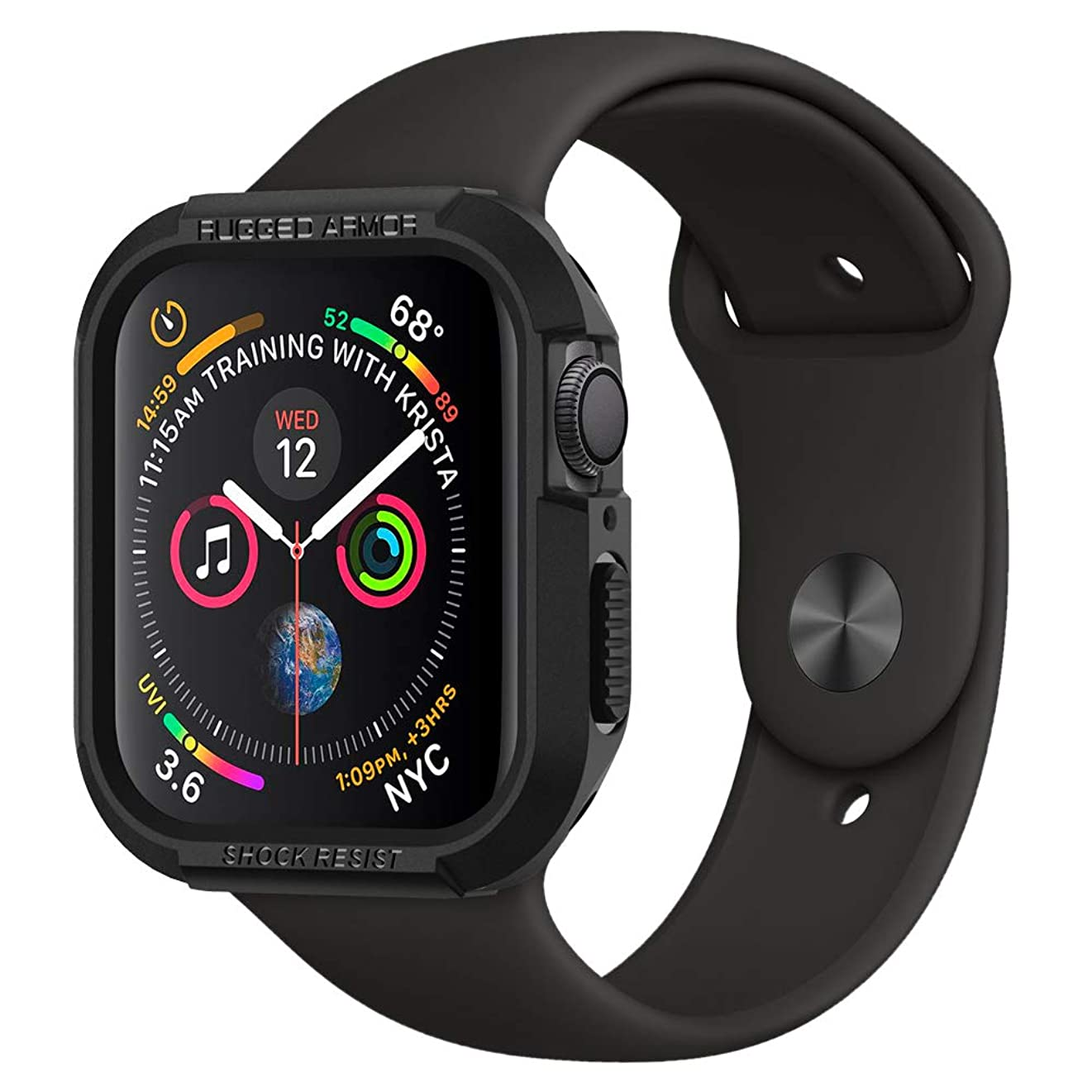 【Spigen】 Apple Watch 40mm ケース 【 Series 5 / series 4 対応 】 落下 衝撃 吸収 タフネスデザイン ラギッド?アーマー 061CS24480 (ブラック)