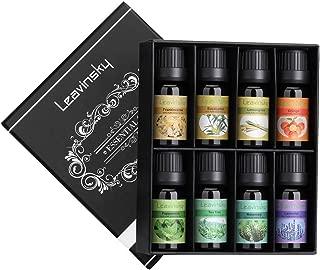 LEAVINSKY Top 8 Essential Oils Set, Pure Aromatherapy Oils for Diffuser, Humidifier, Aromatherapy, Perfect Gift Set-Lavender, Peppermint, Eucalyptus,Tea Tree, Orange, Lemongrass,Frankincense,Rosemary