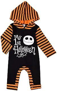 T TALENTBABY Säugling Baby Jungen Mädchen Overall Mein 1. Halloween Hoodie Strampler Baby Halloween Outfits Schädel Hoodie Strampler Bodysuit Onesies Bat Bodysuit