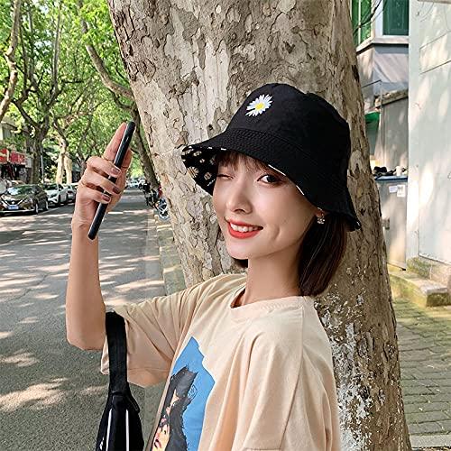 Pequeño sombrero de margarita sombrero de pescador exhibición de la marca de marea femenina pequeña sección delgada de verano pequeña cubierta fresca cara valla grande versión coreana del sol-negro_M