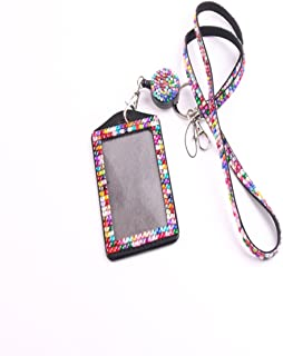 QIDUN Girl Badge Holder Rhinestone Lanyard Bling Crystal Necklace Badge Card Holder for Business Id/Key/Cell Phone (Colorful) (Colorful)