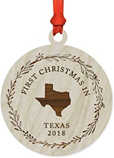 Andaz Press Custom Year Laser Engraved Wood US State Round Christmas Ornament, First Christmas in Texas 2019, 1-Pack, Includes Ribbon and Gift Bag, Custom Name
