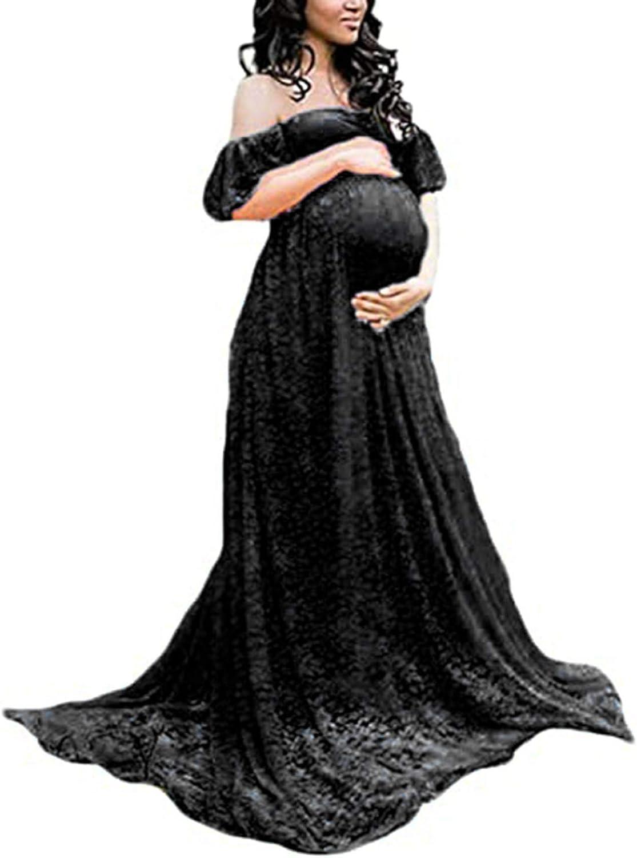 BUOYDM Mujer Vestido Embarazada de Fiesta Largos Foto Shoot Dress Fotogr/áficas de Maternidad Apoyos De Fotograf/ía