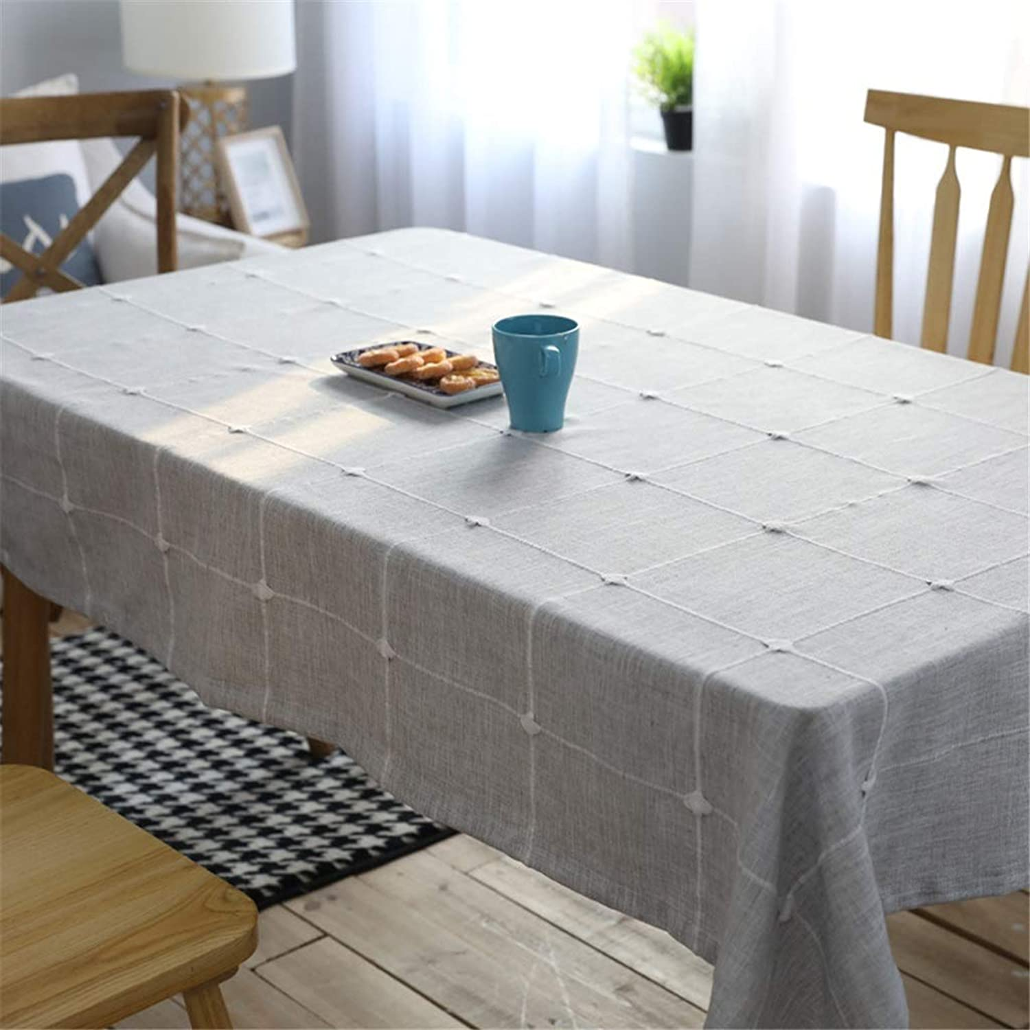 JIAO UK Waterproof Tablecloth Light color Simple American Country Restaurant Grey Picnic Tablecloth