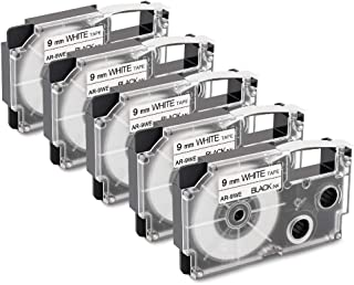 5-Pack Replacement for Casio XR-9WE2S XR-9WE 9mm Black on White Label Maker Tape Compatible with Casio KL-100 KL-120 KL-750 KL-7000 Label Maker