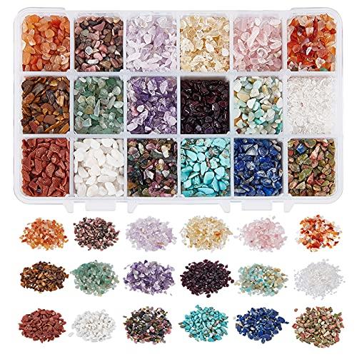 NBEADS 1 caja de cuentas de piedras preciosas, sin agujeros, material natural, triturado, piedras de viruta natural irregulares para hacer joyas, manualidades, colores mezclados